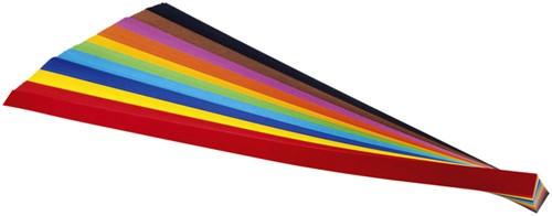 Vlechtstroken Folia  130g/m 50x1cm assorti pak à 200 stroken