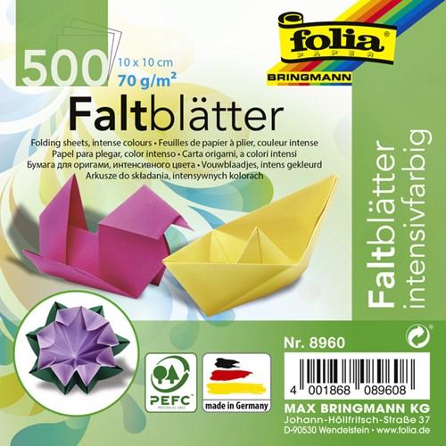 Vouwblaadjes Folia 70g/m² 10x10cm assorti pak à 500 vel