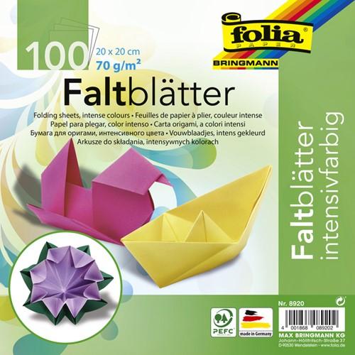 Vouwblaadjes Folia 70g/m² 20x20cm assorti pak à 100 vel