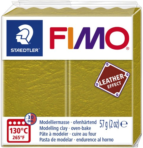 Klei Fimo  leather-effect 57 gr olijf