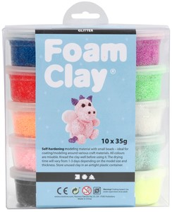 Klei Foam Clay glitter 35gr assorti
