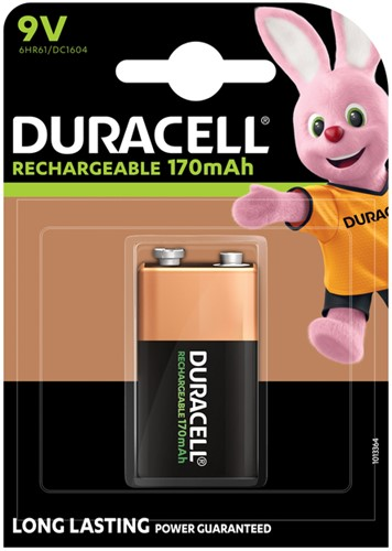 Batterij oplaadbaar Duracell 1x9Volt 170mAh Plus