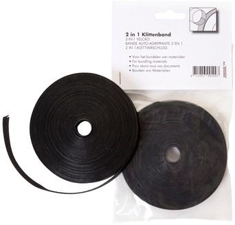 Klittenband Budget kabelbinder 2-in 1 13mmx10m zwart
