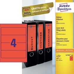 RUGETIKET AVERY ZWECK L4766-100 192X61MM 400ST RD
