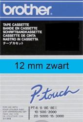 LABELTAPE BROTHER TC-501 12MMX8M BLAUW/ZWART