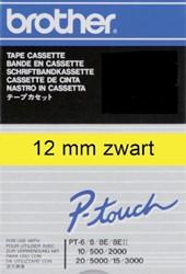 LABELTAPE BROTHER TC-601 12MMX8M GEEL/ZWART