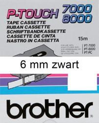 LABELTAPE BROTHER TX-211 6MMX8M WIT/ZWART