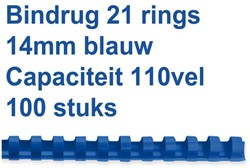 BINDRUG FELLOWES 14MM 21RINGS A4 BLAUW