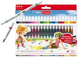 Viltstift Bruynzeel Young 2020 twinpoints 20stuks/40kleuren