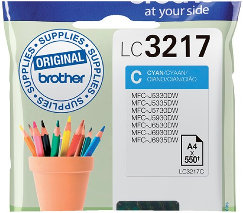 Inktcartridge Brother LC-3217C blauw
