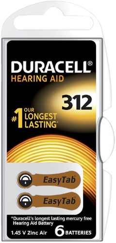 Batterij Duracell Hearing DA312 Ø7,9mm 180mAh 6 stuks