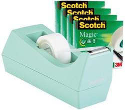 Plakbandhouder Scotch C38 + 4rol magic tape 19mmx33m mint