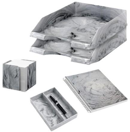 4-delig bureauset marmer grijs